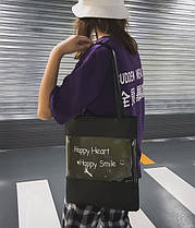 Стильна сумка з прозорою стороною і написом, фото 3
