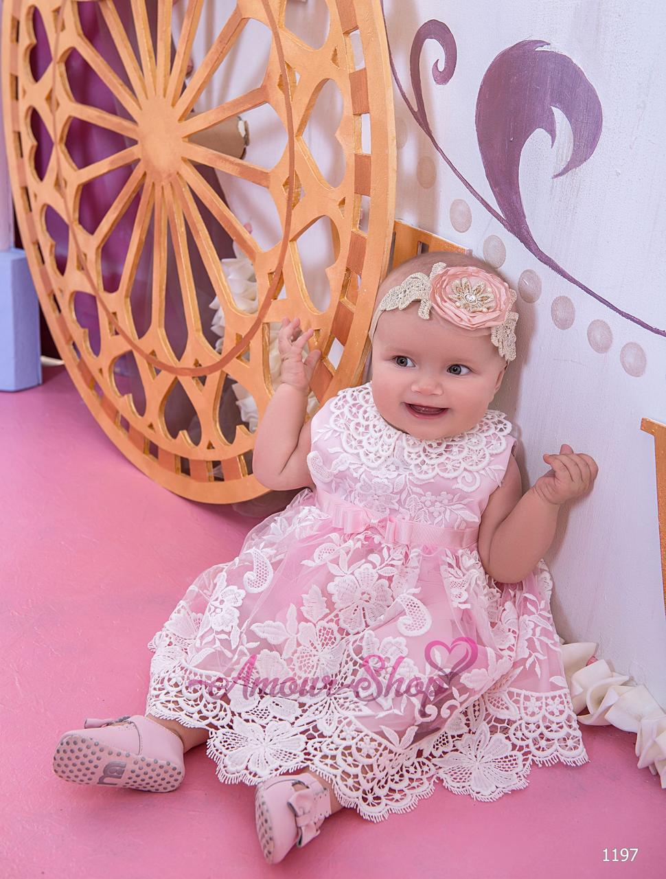 Детское нарядное платье на девочку (крестильное платье)  1197