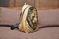 Модный кожаный рюкзак 3d с мордой льва (3д Лев) Золотой рюкзак со львом