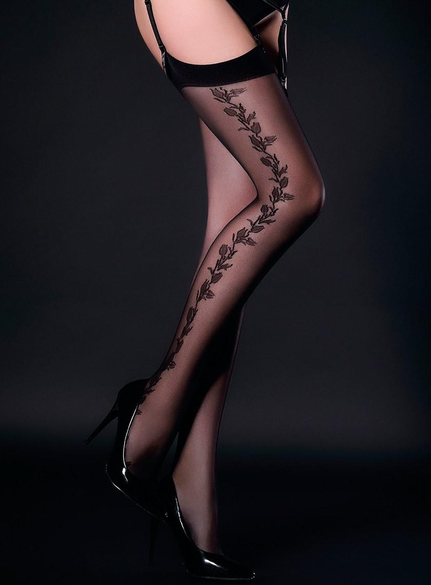 628b00d07d3d6 Чулки капроновые черные с боковым узором Ч-729 - Lace Secret - Магазин  женского белья