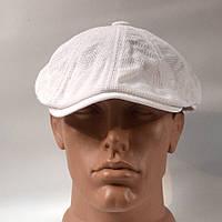 Кепка-восьмиклинка мужская из 100% хлопка в сетку - белая