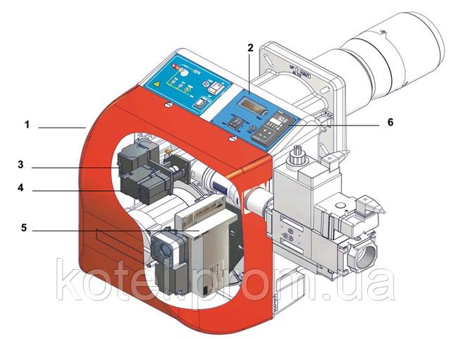 Схема конструкции газовых прогрессивных горелок Unigas NG 550 PR EA