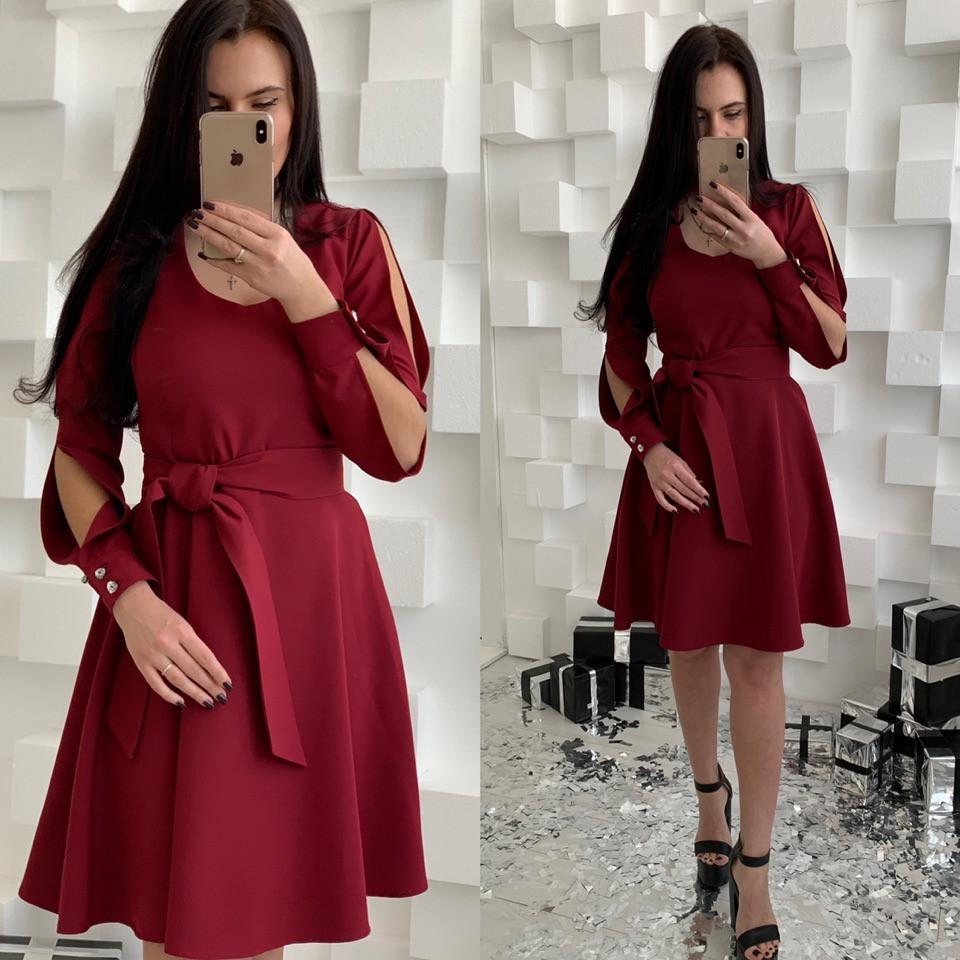7fd756cbe90 Нарядное женское платье с пышной юбкой и разрезами на рукавах ...