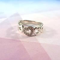 Кольцо серебряное Вереница сердец