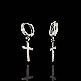 Серебряные серьги-подвески с крестиками