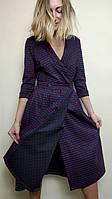Женское платье на запах в клетку П259, фото 1