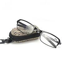 ✅ Окуляри, +2,5 діоптрій, колір оправи - Чорний, це складані, окуляри для зору, з чохлом