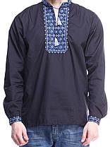 """Мужская сорочка вышиванка черная """"синяя волна"""" KRAYKA, фото 2"""