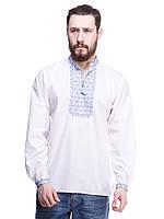 """Мужская сорочка вышиванка белая """"синяя волна"""" KRAYKA"""