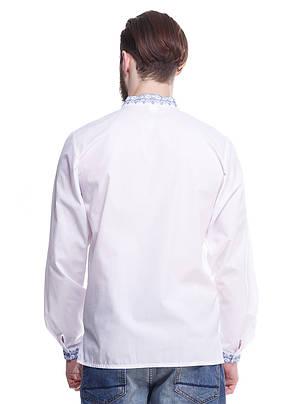 """Мужская сорочка вышиванка белая """"синяя волна"""" KRAYKA, фото 2"""