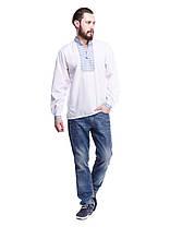 """Мужская сорочка вышиванка белая """"синяя волна"""" KRAYKA, фото 3"""