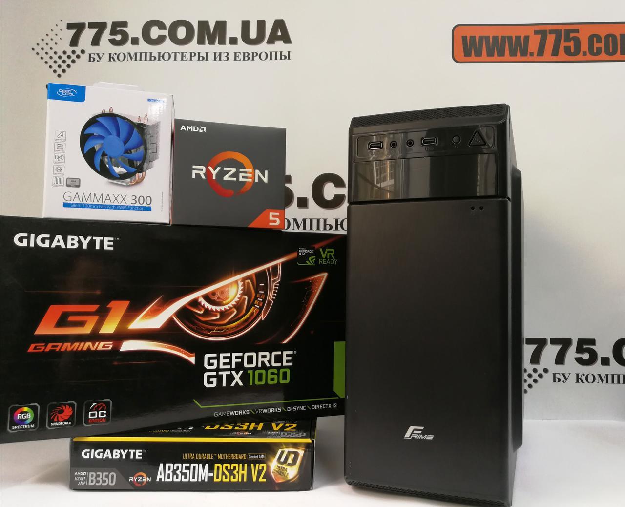 ТОП Игровой компьютер, AMD Ryzen 5 1600Х 4.0GHz (12 потоков), 16ГБ DDR4, SSD 120ГБ, HDD 500ГБ, GTX 1060 3ГБ