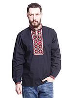"""Мужская сорочка вышиванка черная """"красный ромб"""" KRAYKA"""