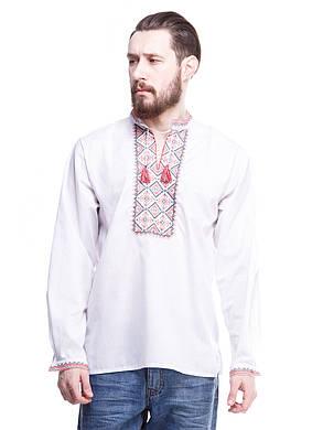 """Мужская сорочка вышиванка белая """"красный ромб"""" KRAYKA, фото 2"""