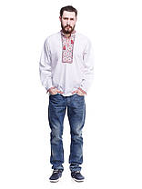 """Мужская сорочка вышиванка белая """"красный ромб"""" KRAYKA, фото 3"""