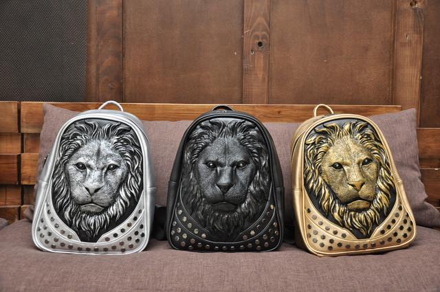 Модный кожаный рюкзак 3d с мордой льва (3д Лев)