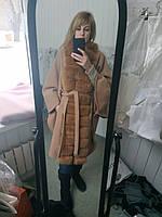 """Пальто кашемировое """"Летучая мышь"""" с мехом песца"""