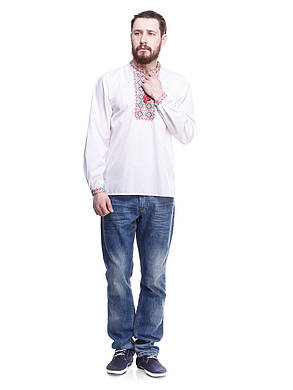 """Мужская сорочка вышиванка белая """"красная волна"""" KRAYKA, фото 2"""