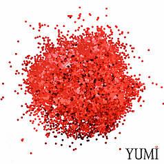 Конфетти мелкое красное, 3 мм (чешуйки)