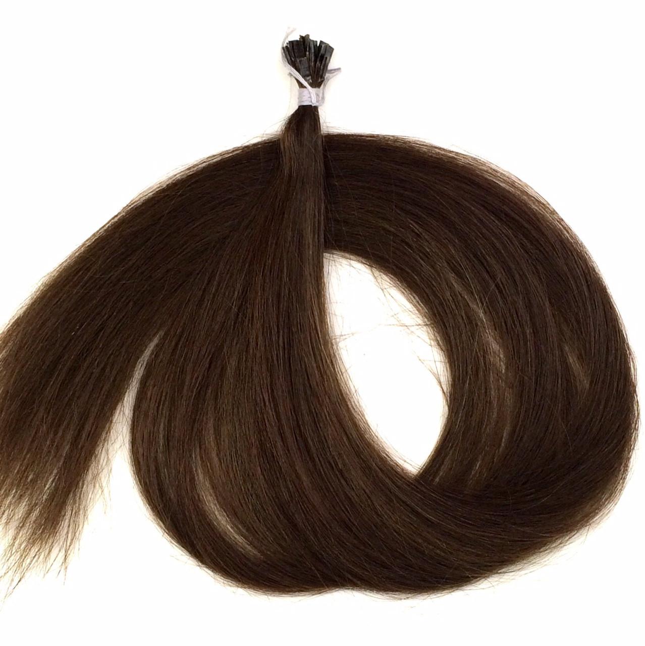 Славянские волосы на капсулах 80 см. Цвет #Каштановый