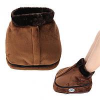 ✅ Масажер для ніг, 2 в 1, колір - Коричневий, електрогрілка, це якісна, електрична грілка для ніг