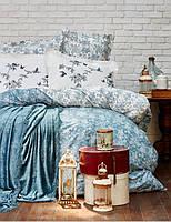 Набор постельное белье с покрывалом Karaca Home Mathis turquise евро, фото 1
