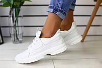 Женские весенние кроссовки из натуральной кожи качественные стильные в белом цвете, ТОП-реплика