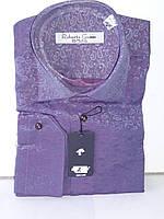 Рубашка мужская Roberto Gianini vd-0002 фиолетовая приталенная в узор с длинным рукавом