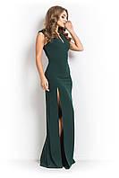 Нарядное платье  в пол с разрезом зеленое
