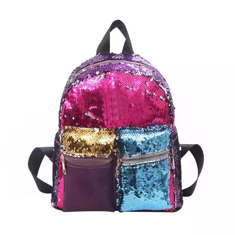 Рюкзак с пайетками школьный для девочки подростка розовый.