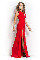 Нарядное платье  в пол с разрезом красное