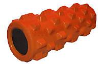 Роллер массажный (Grid Roller) для занятий йогой, пилатесом, фитнесом FI-4246-OR (d13см,l 31см,оранжевый)