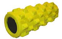 Роллер массажный (Grid Roller) для занятий йогой, пилатесом, фитнесом FI-4246-Y (d13см,l 31см,желтый)