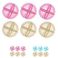 Шарики против сбивания белья в стирке J00454, в упаковке 6шт, цвета ассорти, пластик, шар, шарик от сбивания белья
