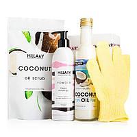 Подарочный набор Hillary coconut delight. Скраб, крем-гель для душа, кокосовое масло, рукавичка - 141494