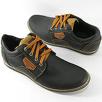Мужские черные туфли натуральная кожа, весна-осень