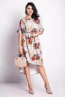 Свободное платье JAVALINA в цветы со шлейфом и короткими рукавами