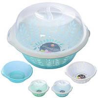 Миска N01548, с ситом и крышкой, размер 27*10см, разные цвета, пластик, пластиковая миска, мисочка, миска из пластика