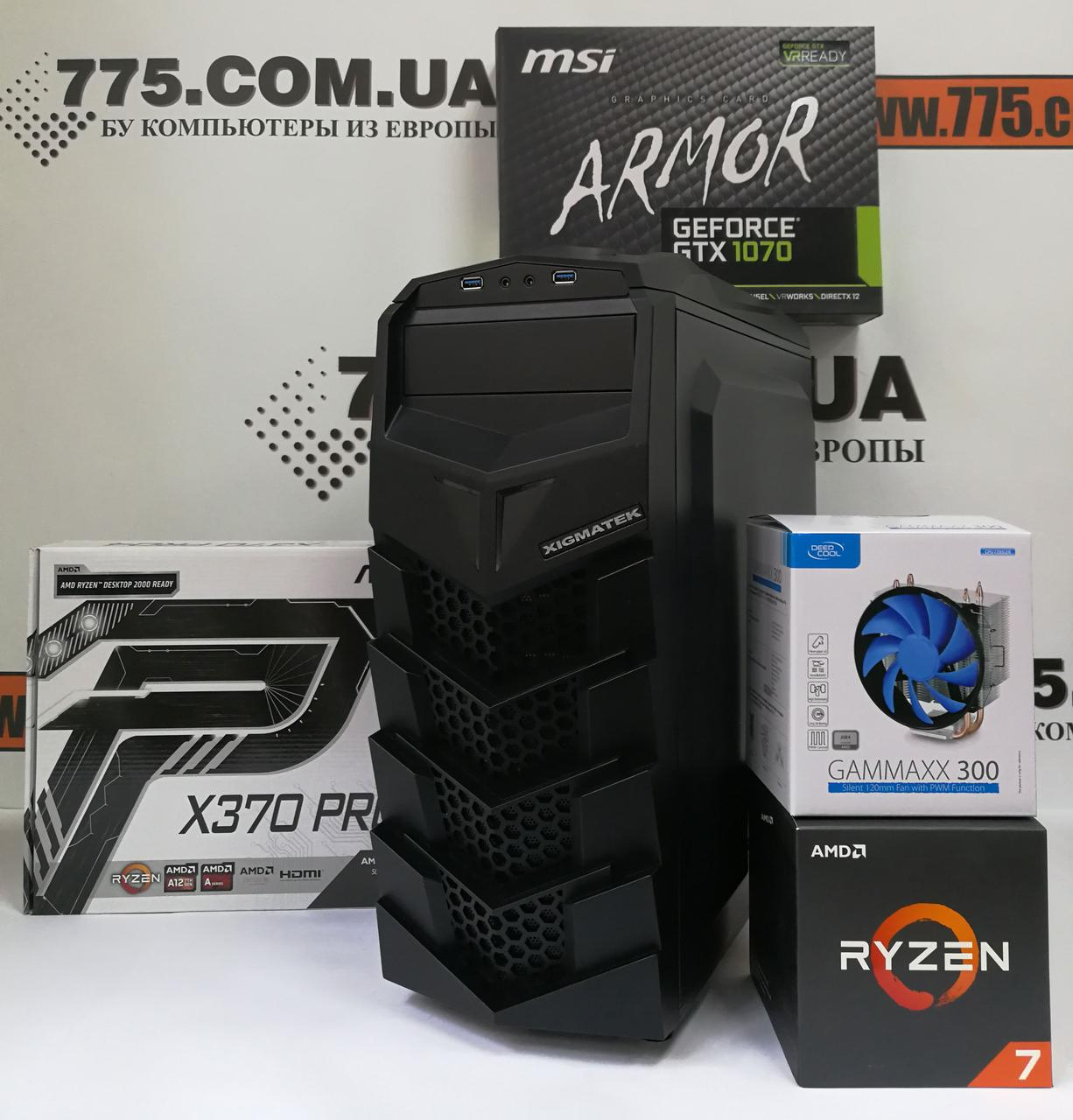 Игровой компьютер, AMD Ryzen 7 1700 3.7GHz (16 потоков), 16ГБ DDR4, SSD 240ГБ, HDD 1ТБ, GTX 1070 8ГБ
