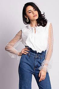 Белая нарядная блуза SNEJKA с длинными прозрачными рукавами из фатина в горошек
