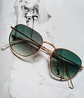 Солнцезащитные ретро очки в стиле Ray Ban с градиентом зелёный