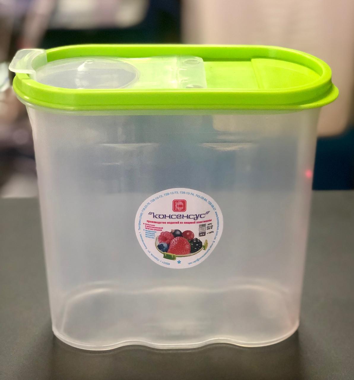 Контейнер пластиковий для сипучих продуктів, круп та муки, 1,7л, Од