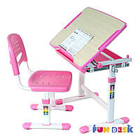 Комплект школьная парта и стул-трансформеры FunDesk Piccolino Pink для дома (розовая)