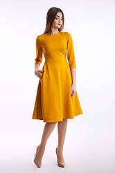 Дизайнерське жіноче плаття класичне Марина, колір гірчиця