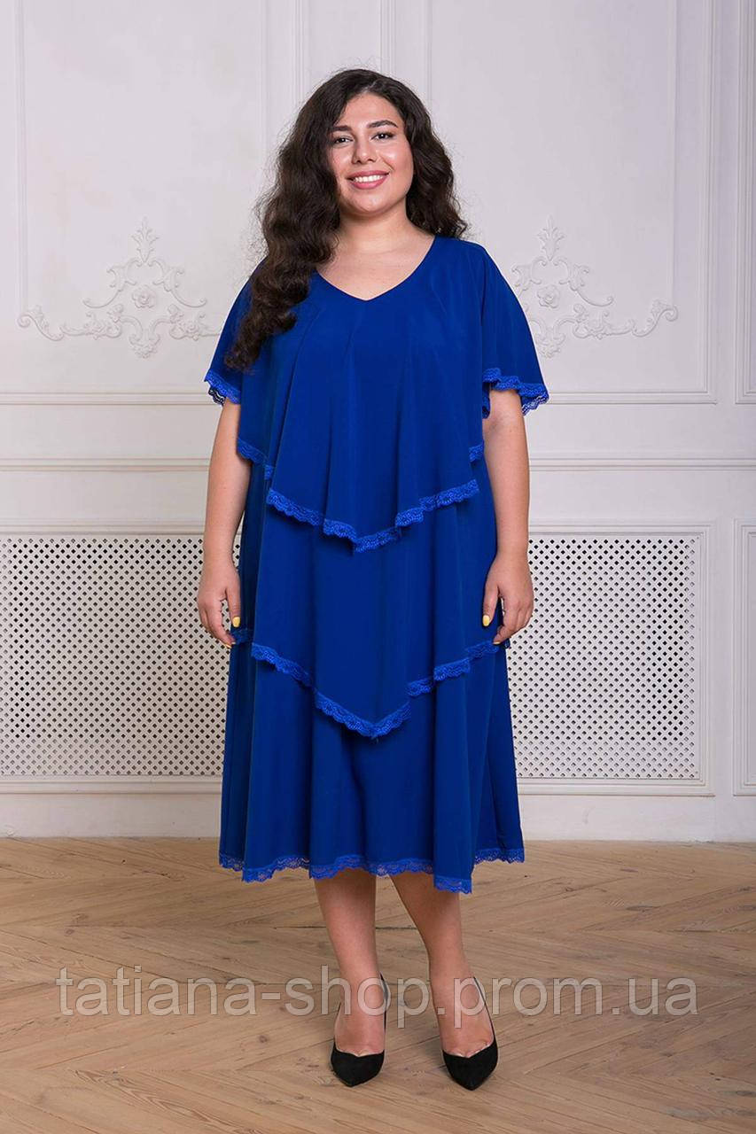 Платье с оборками ДЕВИС электрик, фото 1