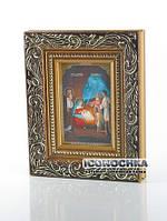 Рождество Христово (икона в золотом багете - образ №2) (110x135 мм)