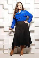 Юбка трикотажная со складками БЕТТИ черная, фото 1