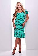 Платье в горошек с воланом ЭЛА бирюзовое, фото 1
