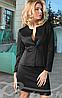 Модный женский костюм пиджак юбка длинный рукав застежка пуговица гусиная лапка