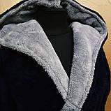 """Халат махровый с капюшоном """"темно синий с серой отделкой"""" мужской, фото 2"""